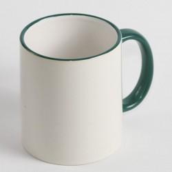 Чашка циліндр біла з кольоровим обідком